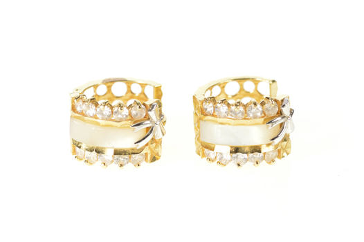 14K Mother of Pearl CZ Bow Huggies Hoop Yellow Gold Earrings