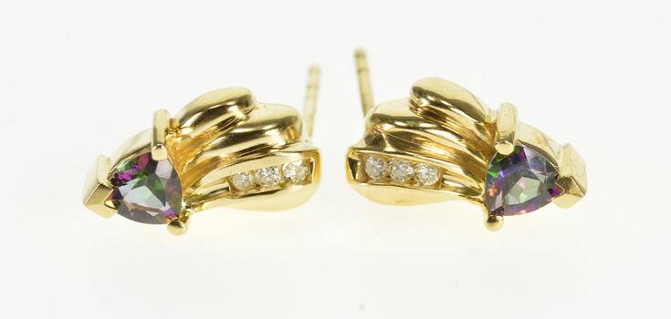 14K Mystic Topaz Trillion Diamond Inset Wavy Post Back Yellow Gold EarRings