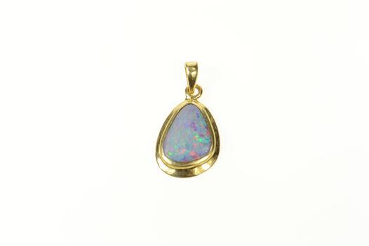 14K Natural Black Opal Classic Statement Yellow Gold Pendant