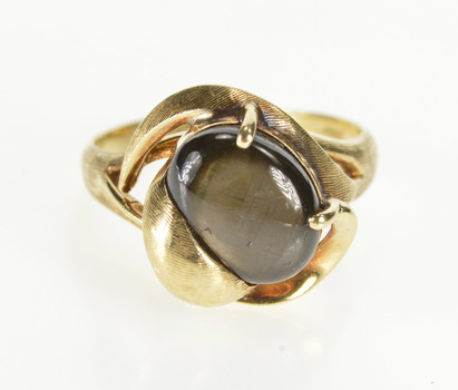14K Natural Black Star Sapphire Retro Fashion Yellow Gold Ring, Size 7.25