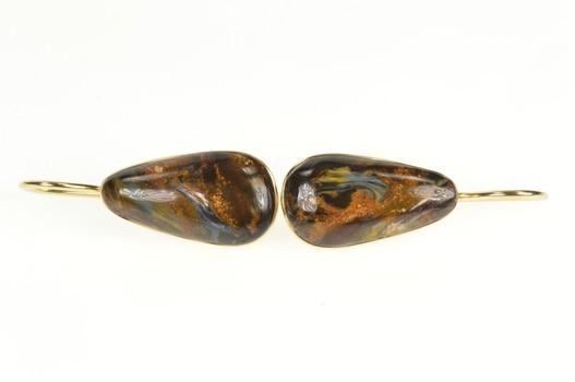 14K Natural Boulder Opal Cabochon Dangle Yellow Gold Earrings