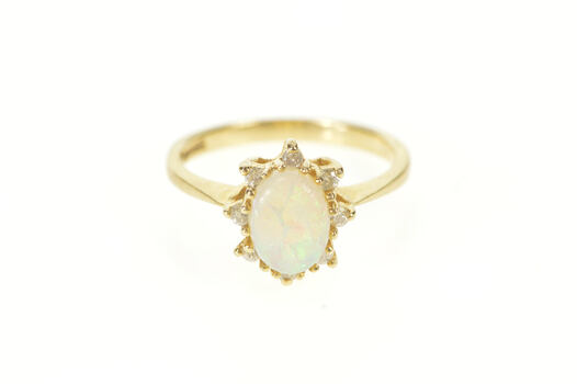14K Natural Opal Diamond Halo Engagement Yellow Gold Ring, Size 5.75