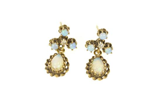 14K Natural Opal & Diamond Ornate Dangle Drop Yellow Gold Earrings