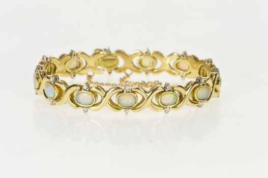 "14K Natural Opal Diamond Stunning Statement Yellow Gold Bracelet 6.5"""