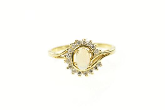 14K Natural Opal Diamond Swirl Halo Statement Yellow Gold Ring, Size 6.25