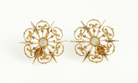 14K Natural Opal Filigree Burst Star Post Back Yellow Gold Earrings