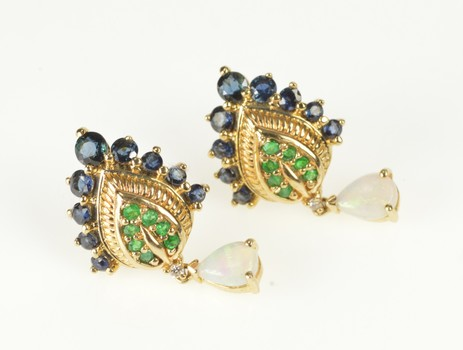 14K Natural Opal Sapphire Emerald Ornate Pointed Yellow Gold Earrings