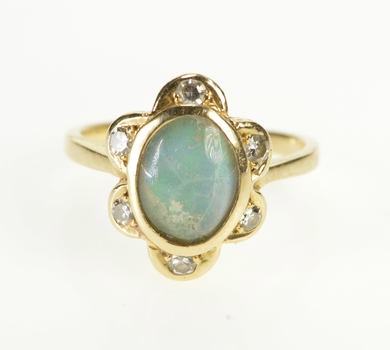 14K Natural Opal Triplet Diamond Halo Engagement Yellow Gold Ring, Size 4