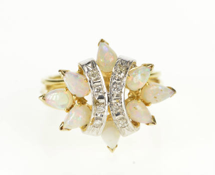 14K Natural Pear Opal Diamond Fashion Cocktail Yellow Gold Ring, Size 6