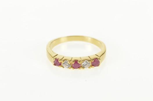 14K Natural Ruby Diamond Classic Wedding Band Yellow Gold Ring, Size 6.75