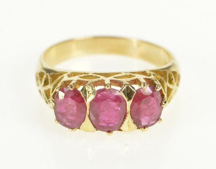 14K Natural Ruby Filigree Victorian Statement Yellow Gold Ring, Size 7.25