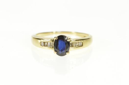14K Natural Sapphire Baguette Diamond Engagement Yellow Gold Ring, Size 7.5