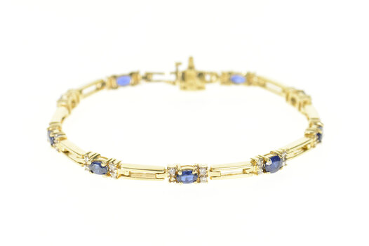 14K Natural Sapphire Diamond Accent Bar Link Yellow Gold Bracelet 7.5""
