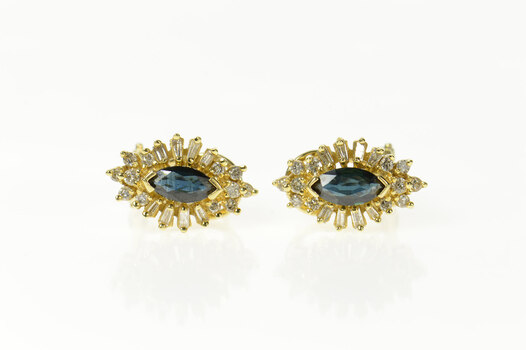 14K Natural Sapphire Diamond Halo French Clip Yellow Gold Earrings