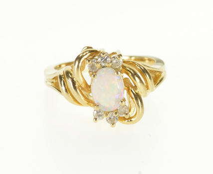 14K Opal* Diamond Accented Wavy Curvy Bypass Yellow Gold Ring, Size 5.75