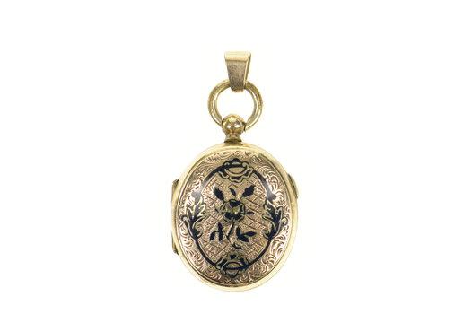 14K Ornate 1940's Black Enamel Picture Locket Yellow Gold Pendant