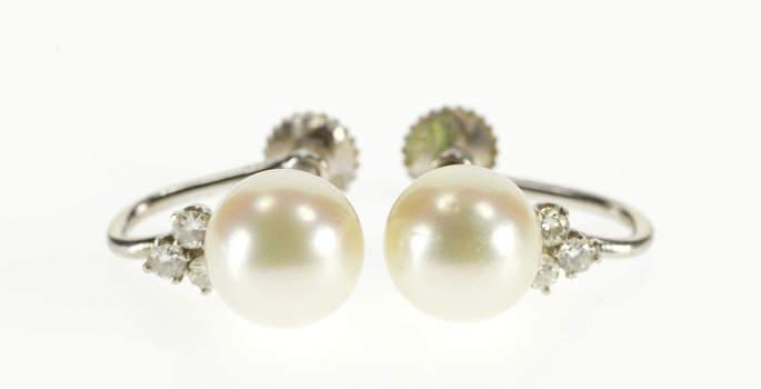 14K Ornate 8.5mm Pearl Diamond Cluster Screw Back White Gold Earrings