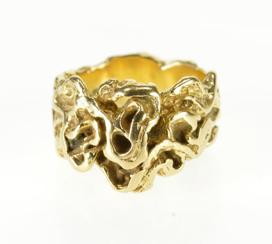 14K Ornate Abstract Vine Knot Design Band Yellow Gold Ring, Size 5