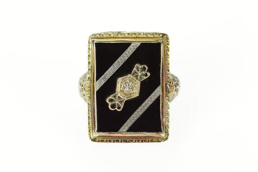 14K Ornate Art Deco Black Onyx Diamond Filigree White Gold Ring, Size 6