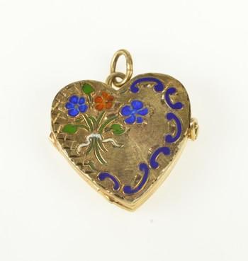 14K Ornate Art Nouveau Enamel Heart Locket Picture Yellow Gold Pendant