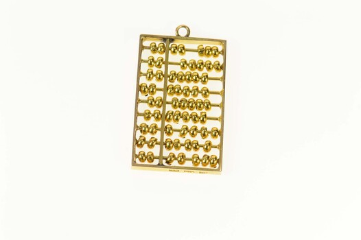 14K Ornate Articulated Abacus Ancient Calculator Yellow Gold Charm/Pendant