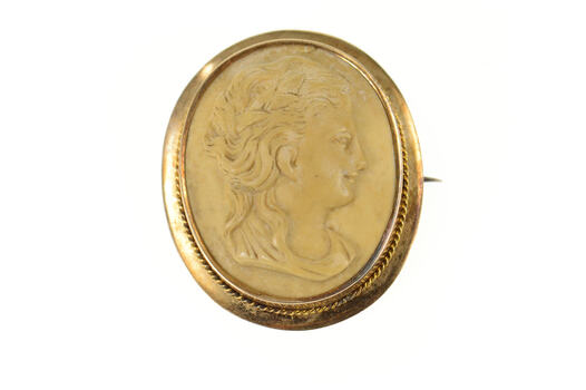 14K Ornate Carved Alabaster Lady Cameo Yellow Gold Pin/Brooch