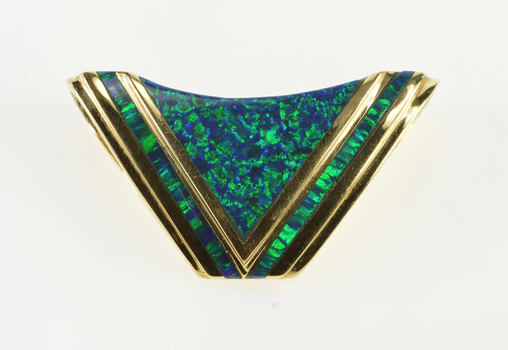 14K Ornate Chevron Pointed Syn. Black Opal Inlay Yellow Gold Pendant