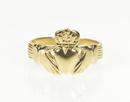 14K Ornate Claddagh Traditional Irish Celtic Loyalty Yellow Gold Ring, Size 6