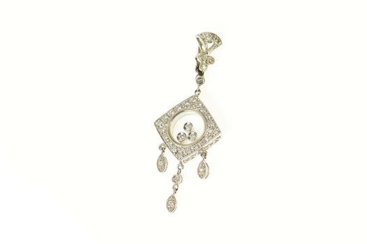 14K Ornate Diamond Encrusted Dangle Fringe White Gold Pendant
