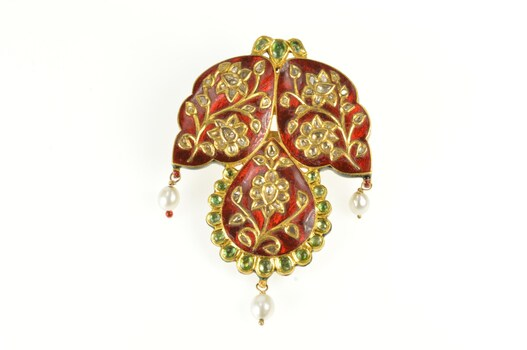 14K Ornate Diamond Encrusted Red Enamel Emerald Yellow Gold Pin/Brooch