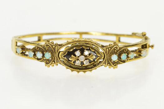 14K Ornate Diamond Opal Statement Bangle Yellow Gold Bracelet, Size 6.75
