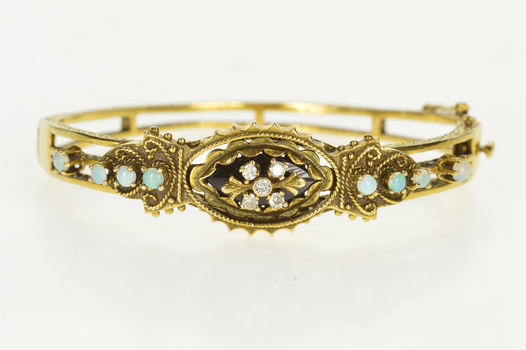 14K Ornate Diamond Opal Statement Bangle Yellow Gold Bracelet, Size 6.75