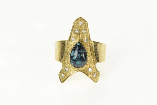 14K Ornate Diamond Turquoise Arrowhead Yellow Gold Ring, Size 7.75