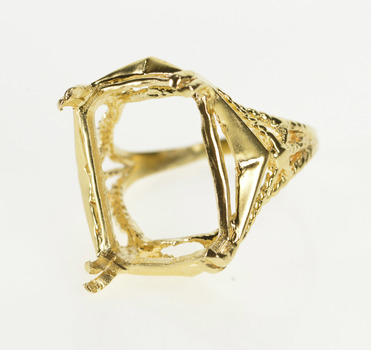 14K Ornate Emerald Cut Cocktail Setting Mounting Yellow Gold Ring, Size 8.25