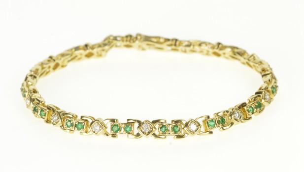 "14K Ornate Emerald Diamond Encrusted Yellow Gold Bracelet 7.25"""