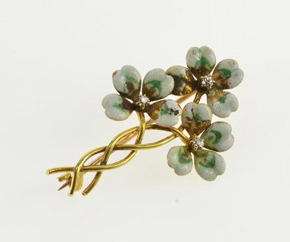 14K Ornate Enamel Diamond Twist Shamrock Cluster Yellow Gold Pin/Brooch