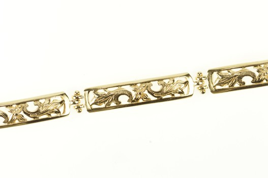"""14K Ornate Etched Floral Scroll Bar Chain Link Yellow Gold Bracelet 7.25"""""""