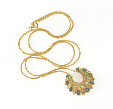 """14K Ornate Fanned Opal Emerald Sapphire Chain Yellow Gold Necklace 19"""""""