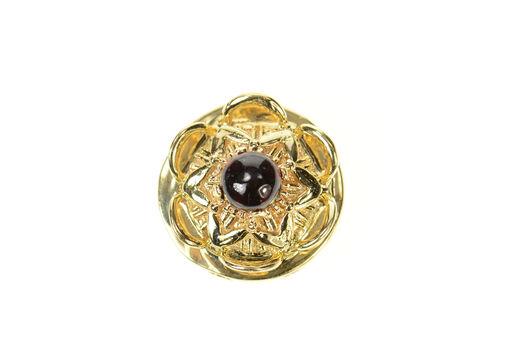 14K Ornate Floral Garnet Cabochon Slide Bracelet Yellow Gold Charm/Pendant