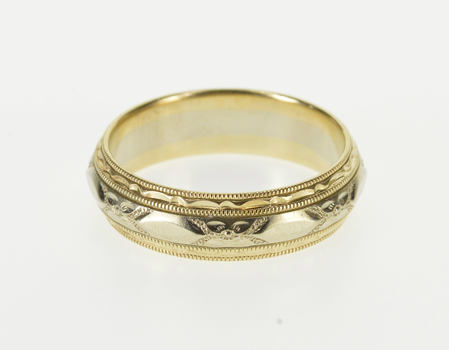 14K Ornate Floral Patterned Two Tone Wedding Band Yellow Gold Ring, Size 9.75