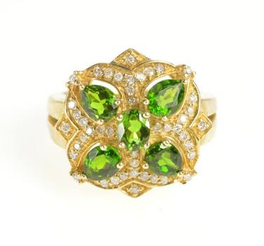 14K Ornate Green Tourmaline Diamond Cocktail Yellow Gold Ring, Size 5