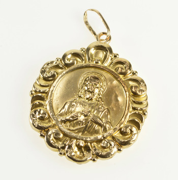 14K Ornate Jesus Christ Virgin Mother Christian Yellow Gold Charm/Pendant