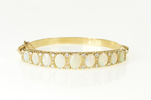 14K Ornate Natural Opal Diamond Statement Bangle Yellow Gold Bracelet 7""