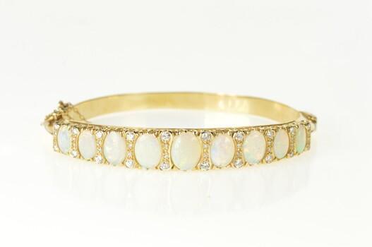 "14K Ornate Natural Opal Diamond Statement Bangle Yellow Gold Bracelet 7"""