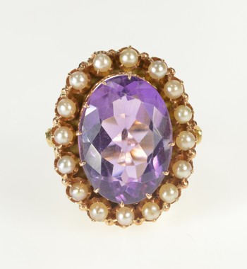 14K Ornate Oval Amethyst Seed Pearl Halo Cocktail Yellow Gold Ring, Size 8.5
