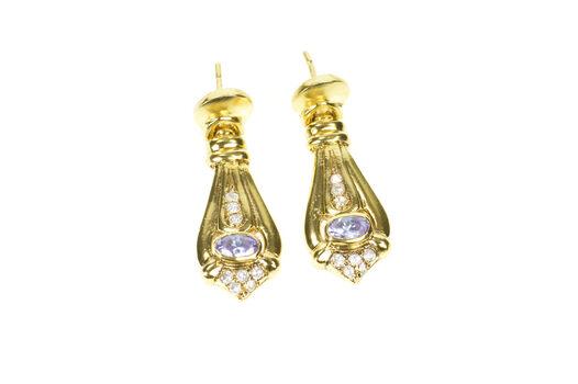 14K Ornate Oval Kunzite Diamond Drop Dangle Yellow Gold Earrings