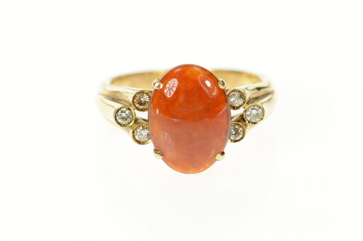 14K Ornate Oval Red Jade Diamond Victorian Yellow Gold Ring, Size 10