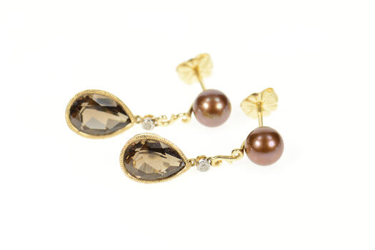 14K Ornate Pear Smoky Quartz Drop Brown Pearl Yellow Gold Earrings
