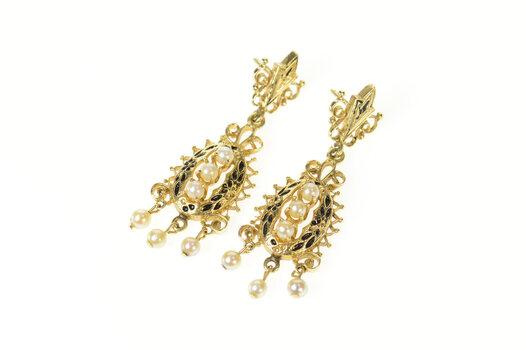 14K Ornate Pearl Dangle Black Enamel Statement Yellow Gold Earrings