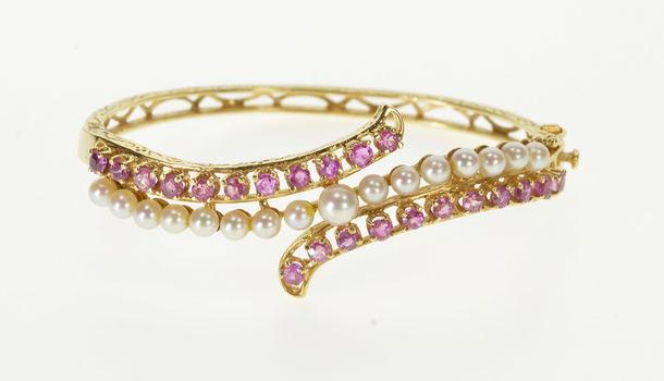 "14K Ornate Pearl Pink Topaz Bypass Wavy Bangle Yellow Gold Bracelet 6.5"""